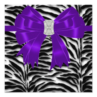 Purple and Black Zebra All Occasion Party Card