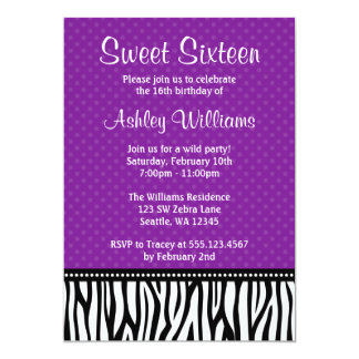 Purple and Black Zebra Polka Dot Sweet 16 13 Cm X 18 Cm Invitation Card
