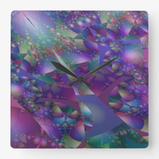 Purple and Blue Bubble Fractal Wallclock