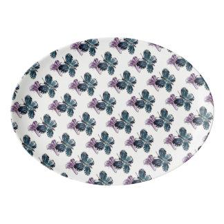 Purple and Blue Butterflies Art Porcelain Serving Platter