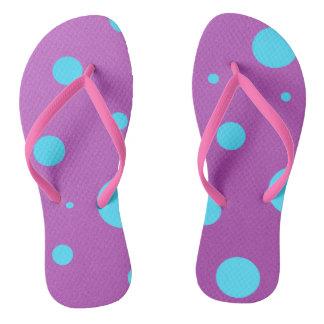 Purple and Blue Polka Dot Flip Flops Thongs
