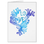 Purple and Blue  Waves Love Note Card