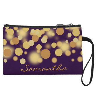 Purple and Gold Bokeh Dots Clutch Bag