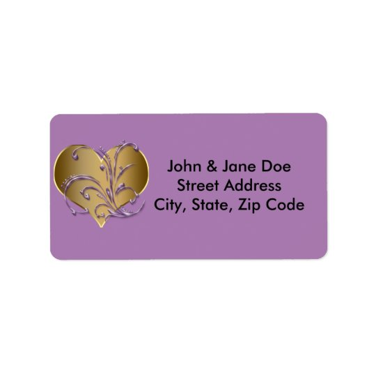 Purple And Gold Heart Label