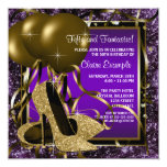 Purple and Gold High Heels Womans Birthday Party Custom Invites