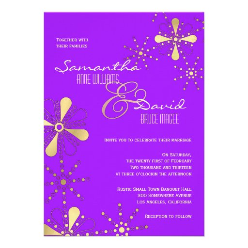 Purple and Gold Indian Inspired Wedding Personalized Invite