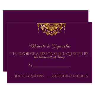 Purple and Gold Indian Wedding Response Card 9 Cm X 13 Cm Invitation Card