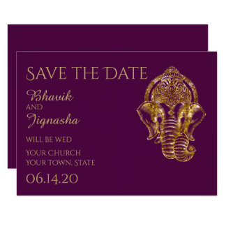 Purple and Gold Indian Wedding Save the Date 9 Cm X 13 Cm Invitation Card