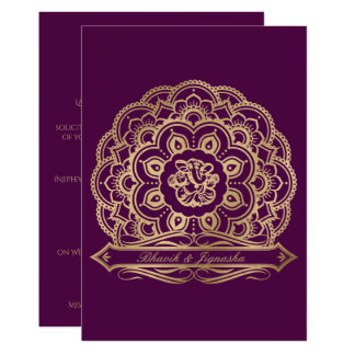 Purple and Gold Mandala Indian Wedding Invitation
