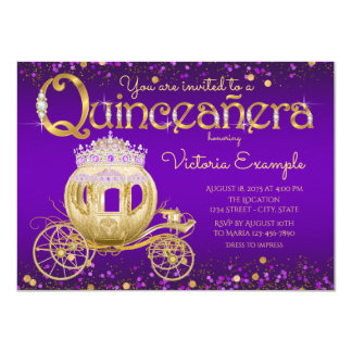 Purple and Gold Princess Quinceanera Card
