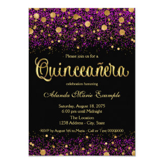 Purple and Gold Quinceanera 4.5x6.25 Paper Invitation Card