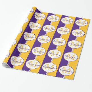 Purple and Gold Stripes Monogram Wrapping Paper