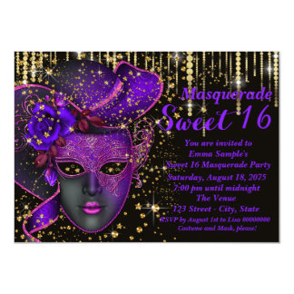 """Purple and Gold Sweet Sixteen Masquerade Party 4.5"""" X 6.25"""" Invitation Card"""