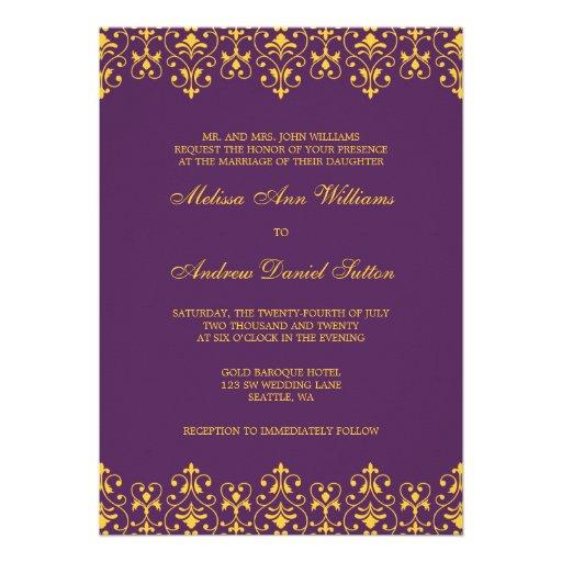 Purple and Gold Vintage Baroque Wedding Invitation