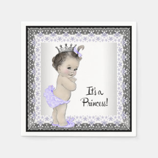 Purple and Gray Baby Girl Shower Disposable Napkin