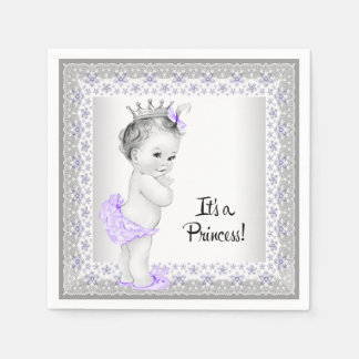 Purple and Gray Baby Girl Shower Disposable Napkins