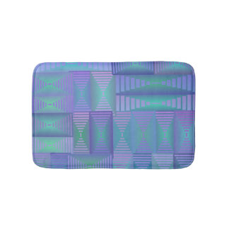 Purple and green geometric print bath mat