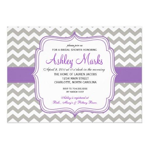 Purple and Grey Chevron Invitaiton Custom Invites