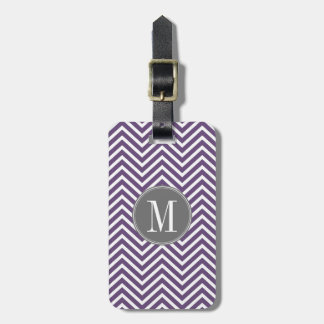 Purple and Grey Chevron Pattern with Monogram Luggage Tag