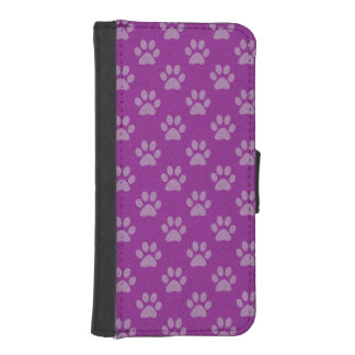 Purple and grey puppy paws iphone wallet case