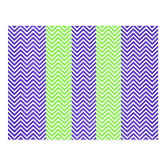 Purple and Lime Green Striped Chevron Zig Zags Postcard