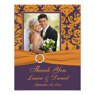 Purple and Orange Damask Photo Thank You Card 11 Cm X 14 Cm Invitation Card