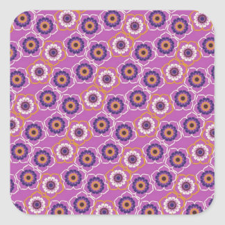 Purple and Orange Floral Pattern Gifts Square Sticker