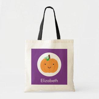 Purple and Orange Pumpkin Halloween Treat Bag