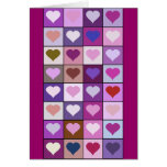 Purple and Pink Heart Squares Card