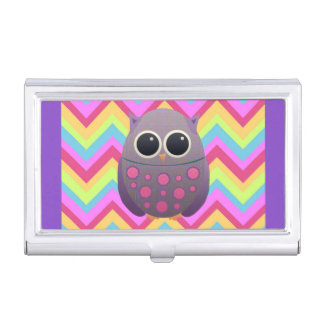 Purple and Pink Owl on Colorful Pastel Chevron Business Card Holder