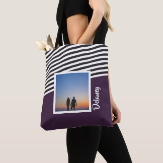 Purple and Striped Pattern Personalised Photo Tote Bag