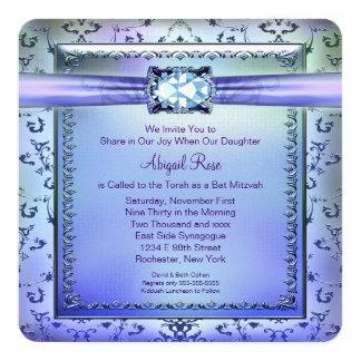 Purple and Teal Blue Bat Mitzvah Card