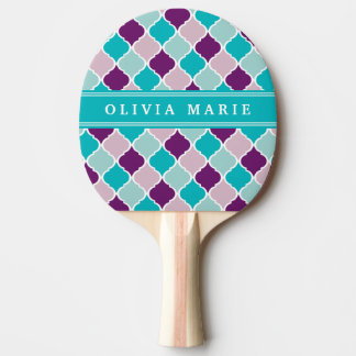 Purple and Turquoise Lattice Pattern with Name Ping Pong Paddle