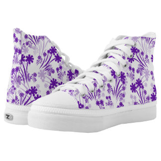 Purple And White Flower High Top Sneakers