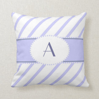 Purple and white monogram pillow