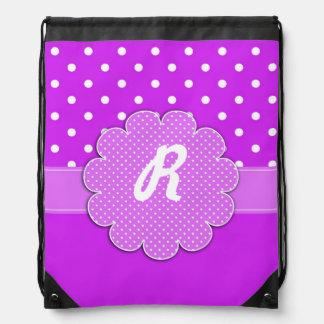 Purple and White Polka Dot Monogram Backpack