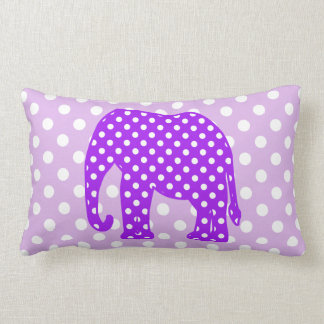 Purple and White Polka Dots Elephant Pillow
