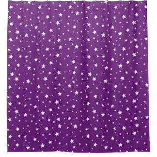 Purple and White Stars Celestial Sky Shower Curtain