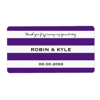 Purple and white stripe wedding water bottle label shipping label