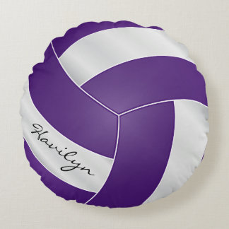 Purple and White Volleyball | DIY Name Round Cushion