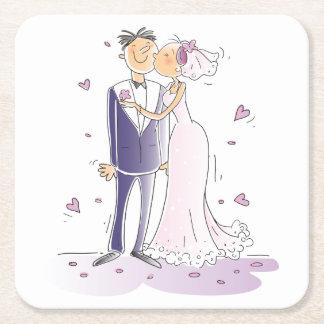 Purple And White Wedding Bride & Groom Cartoon Square Paper Coaster