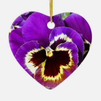 Purple and yellow pansy flower ceramic heart decoration