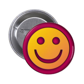 PURPLE AND YELLOW SMILEY FACE 6 CM ROUND BADGE