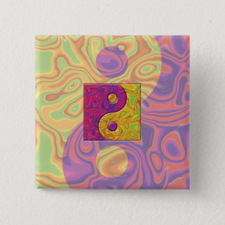 Purple and Yellow Yin Yang Symbol 15 Cm Square Badge