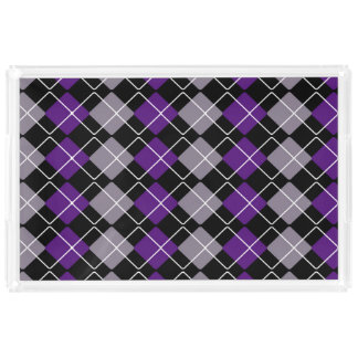 Purple Argyle Acrylic Tray