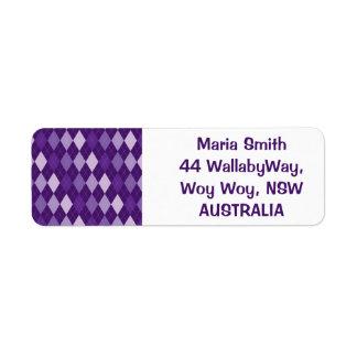 Purple argyle pattern return address label