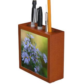 Purple Autumn Asters Wildflower Desk Organizer Pencil/Pen Holder