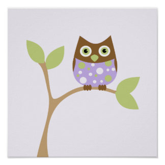 Purple Baby Owl Poster