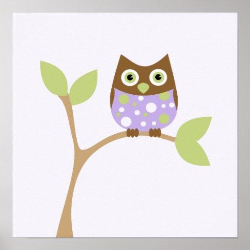 Purple Baby Owl Print