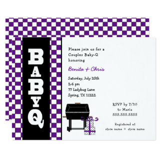 Purple Baby Q Baby Shower, couples BBQ Card